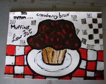 kitchen placemat bran muffin brown red white or wall decor painting table protection