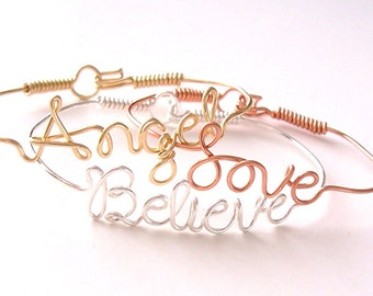 Wire Name Bracelet with your favorite NAMEs or WORDs . Name Bracelet . Personalized Bracelet . Wire Name Jewelry