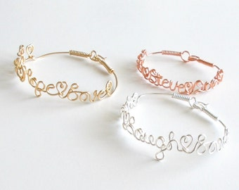 Bracelet, Wire Name Bracelet, Wire Bracelet, Wire Name Jewelry, Personalized, Custom, Handmade, Bridesmaid Gift, Party Favor, Wire, Initial