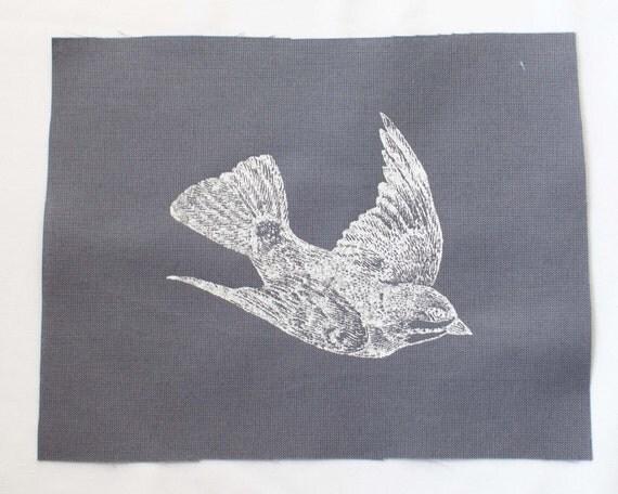 Bird Patch, screen print, silkscreen, bird illustration, grey cotton fabric, steampunk