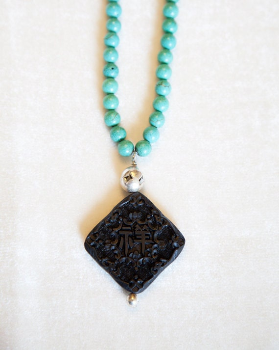 SALE - Cinnabar Pendant Necklace, elegant ethnic necklace turquoise magnesite beaded jewelry unique design