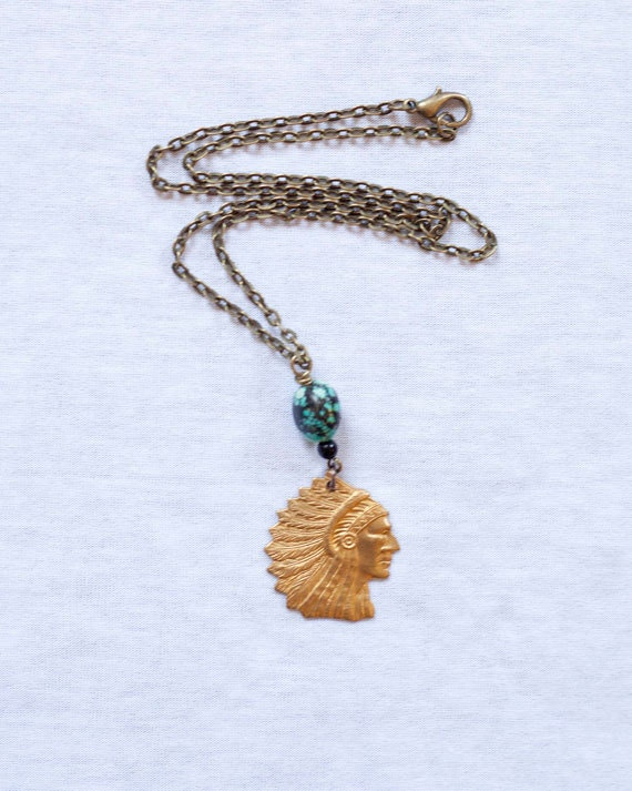 American Indian Necklace, Vintage Brass Stamp, Native American, One of a Kind necklace