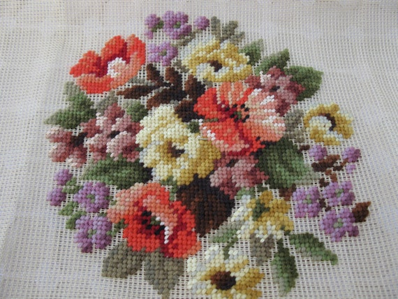 Vintage BUCILLA Decorator Needlepoint Wool Tapestry Canvas - Floral Bouquet - Pillow or Wallhanging
