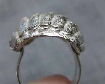 Chiton sea creature ring - silver