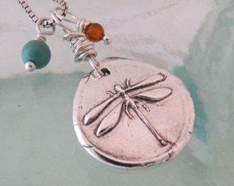 Silver Dragonfly Necklace with Turquoise and Amber
