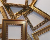 Lot of 10 Small Gold Picture Frames with EASELS - 5 x 5""