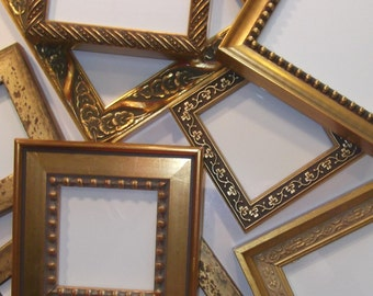 """Lot of 10 Small Gold Picture Frames with EASELS - 5 x 5"""""""