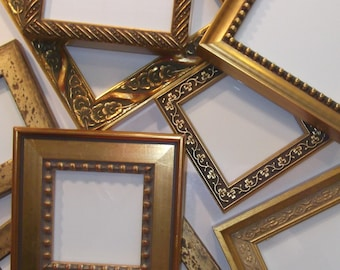 Set of 10 Small Gold Picture Frames - Wedding Tables Favors Gifts