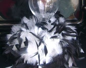 Classic Black and White Fanciful Feather Votive Candle Holder