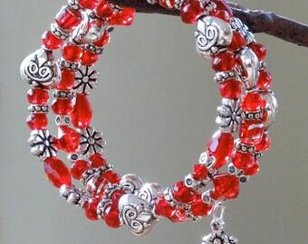 Cupid's Kiss  Beaded Wrap Bracelet