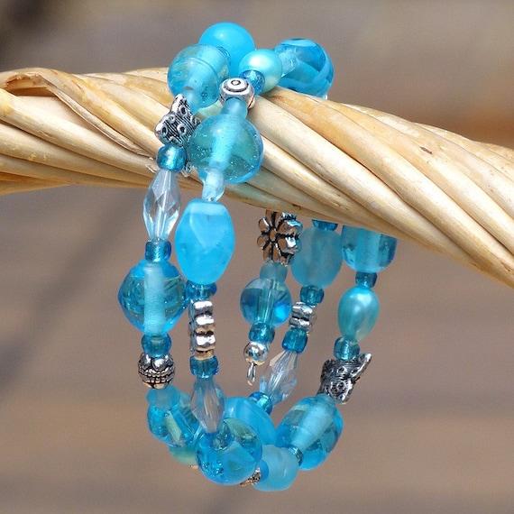Splash ............. Aqua Beaded Wrap Bracelet