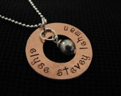 Handstamped Copper Circular Washer  Necklace With Pearl Accent