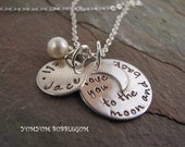 I Love You To The Moon And Back Double Disc Sterling Silver Charm Necklace With Birthstone Or Pearl