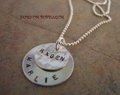 Sterling Silver Handstamped Double Disc Charm Necklace