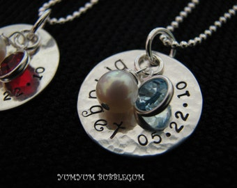 Single Sterling Silver Handstamped Disc Graduation Necklace With Pearl and Birthstone Drop