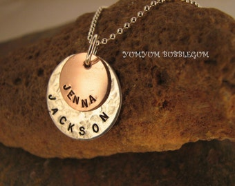 Handstamped Sterling Silver and Copper Double Disc Necklace