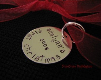 Handstamped Sterling Silver Disc Baby's First Christmas Ornament with  Ribbon