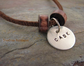 SIingle Handstamped Sterling Silver Disc Charm Necklace , Wooden Beads and Suede Cord