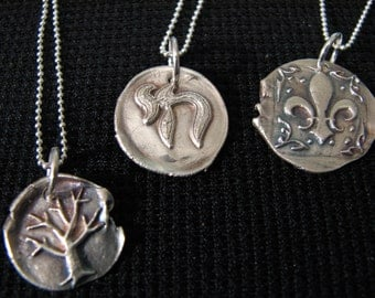Fine Silver Vintage Style Wax Seal Design Charm Necklace