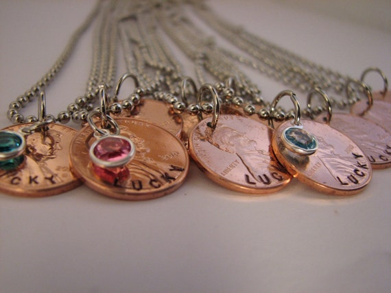 Lucky Copper Penny Necklace with Added Birthstone Option