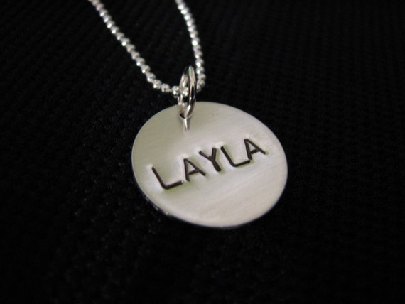 Single Handstamped Name Sterling Silver Disc Charm Necklace