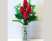 Custom LEGO Bouquet of Red Rosebuds and Baby's Breath
