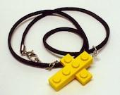 Mini Yellow Cross Pendant and Necklace