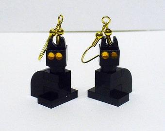 Mini Black Cat Dangle Earrings