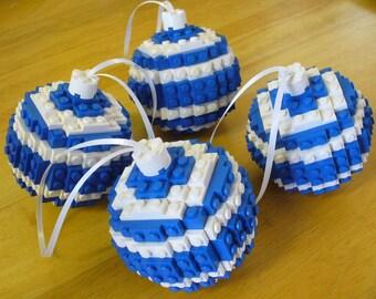 Set of 4 Blue Ball Ornaments
