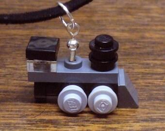 Dark Gray Mini Train Engine Necklace