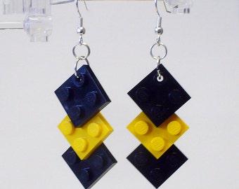 Mini Black and Yellow Triple Square Earrings