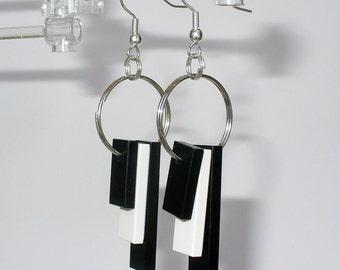 Black and White Tile Dangle Earrings