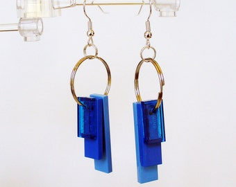 Triple Blue Tile Dangle Earrings