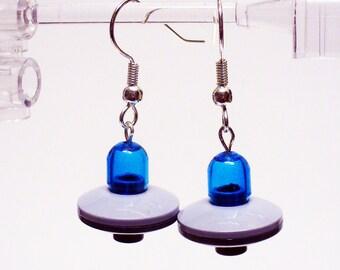 Mini Blue UFO Dangle Earrings