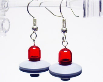 Mini Red UFO Dangle Earrings