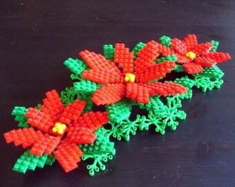 Large Poinsettia Christmas Decoration Set