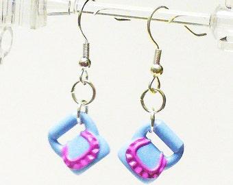 Mini Light Blue Purse Dangle Earrings