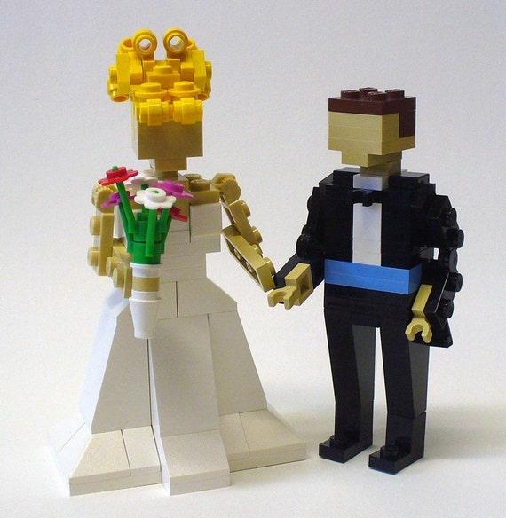 Custom made LEGO Bride and Groom Wedding Cake Topper