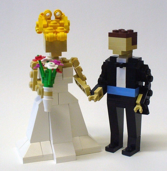 Custom  LEGO Bride and Groom Wedding Cake Topper