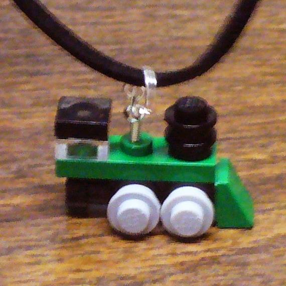Green Mini Train Engine Necklace