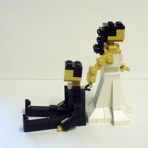 Custom Bride dragging Groom Wedding Cake Topper