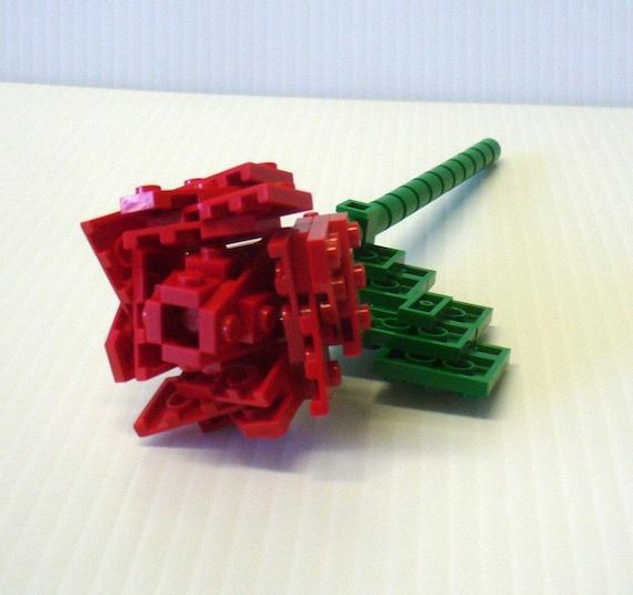 Custom made LEGO Single Stem Open Rose