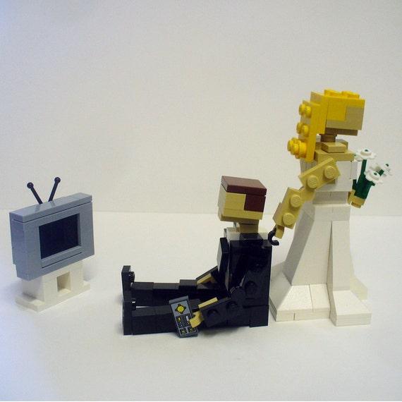 Lego Wedding Altar: LEGO Bride Dragging Groom From TV Wedding Cake By FoldedFancy