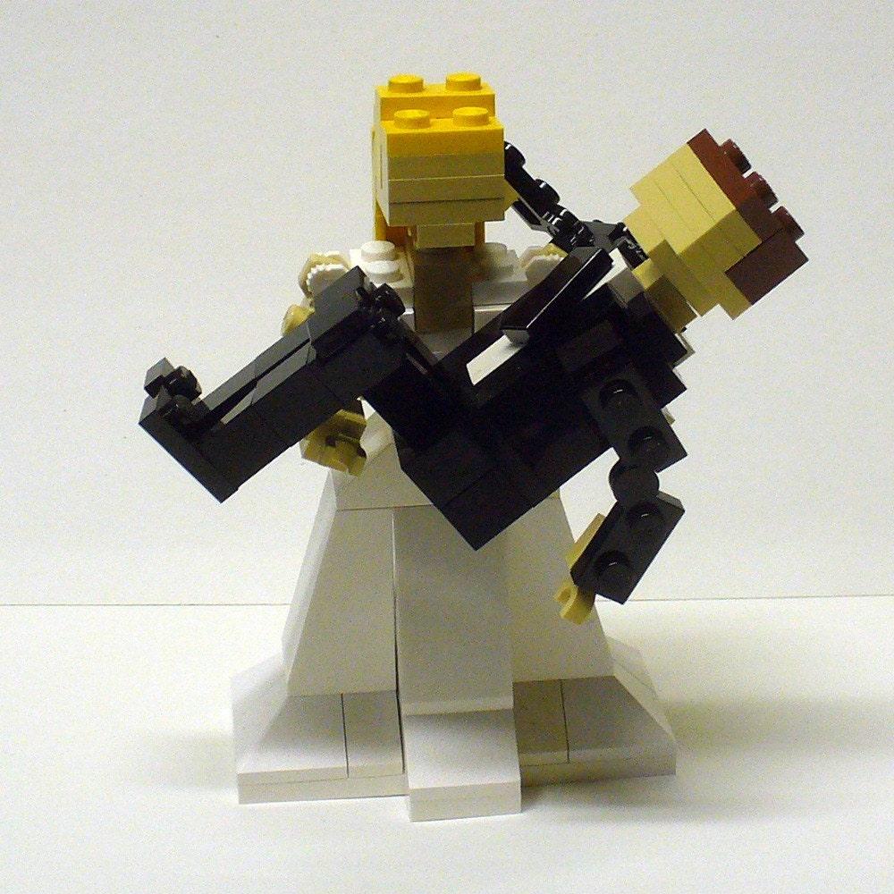 Lego Wedding Altar: Custom LEGO Bride Holding Groom Wedding Cake Topper