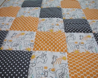 Elephants You Are My Sunshine in Orange and Gray Minky Blanket You Choose Size MADE TO ORDER No batting