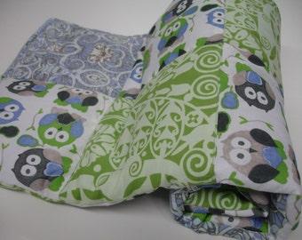 Short Legged Owls in Basil and Cornflower Minky Blanket MADE TO ORDER