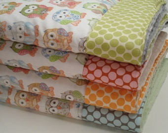 Short Legged Owls and You Choose Polka Dots Baby Minky Blanket  You Choose Size MADE TO ORDER