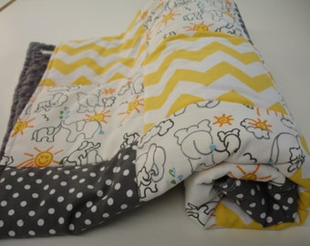 Elephants You Are My Sunshine  Yellow Chevron Dots Minky Comforter Blanket You Choose Size and Minky Color MADE TO ORDER