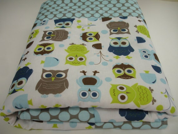Modern Owls Baby Blanket with Minky 27 x 28 MADE TO ORDER