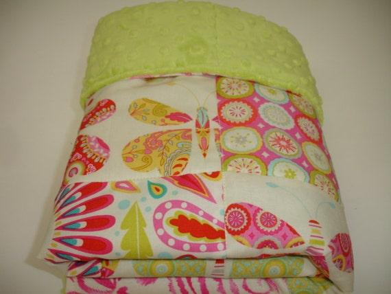 Kumari Garden Butterfly Baby Blanket  with Apple Minky 25 x 25  READY TO SHIP On Sale